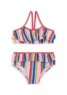 Andy & Evan Little Girl's & Girl's 2-Piece Striped Ruffle Bikini Set