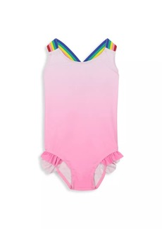 Andy & Evan Little Girl's & Girl's Rainbow Strap Ruffle One-Piece Swimsuit