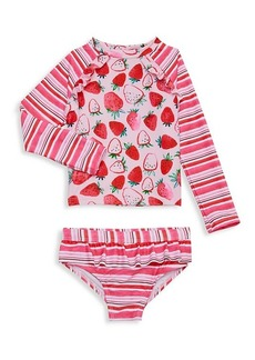 Andy & Evan Little Girl's 2-Piece Strawberry-Print Rashguard & Swim Bottom Set