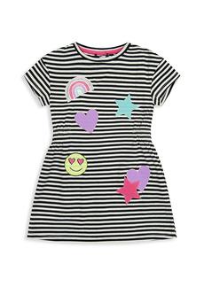 Andy & Evan Little Girl's Striped Jersey Emoji Dress
