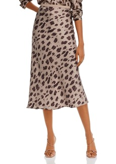 Anine Bing Bar Animal Print Silk Midi Skirt