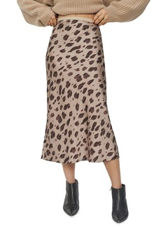 ANINE BING Bar Print Silk Midi Skirt