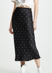 ANINE BING Bar Silk Polka Dot Skirt