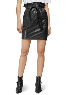 ANINE BING Laurie Paperbag Waist Leather Miniskirt