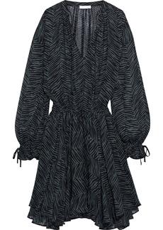 Anine Bing Woman Elliana Asymmetric Zebra-print Silk-georgette Mini Dress Black