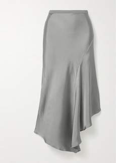 Anine Bing Bailey Asymmetric Silk-charmeuse Midi Skirt
