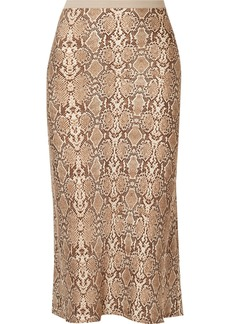 Anine Bing Bar Snake-print Silk-charmeuse Midi Skirt