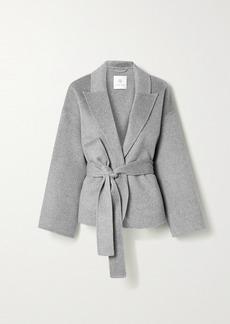 Anine Bing Luna Belted Wool And Cashmere-blend Jacket