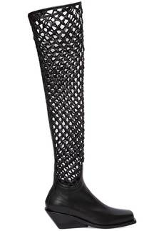 Ann Demeulemeester 50mm Woven Leather Over The Knee Boots