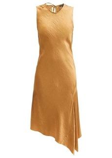 Ann Demeulemeester Asymmetric-hem crinkled-satin dress