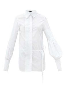 Ann Demeulemeester Asymmetric pleated cotton shirt