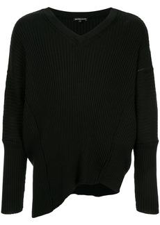 Ann Demeulemeester asymmetric V-neck jumper - Black