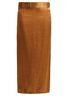 Ann Demeulemeester Belted crinkled-satin skirt
