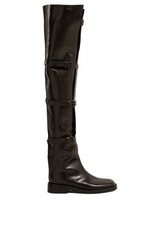 Ann Demeulemeester Buckled over-the-knee leather boots