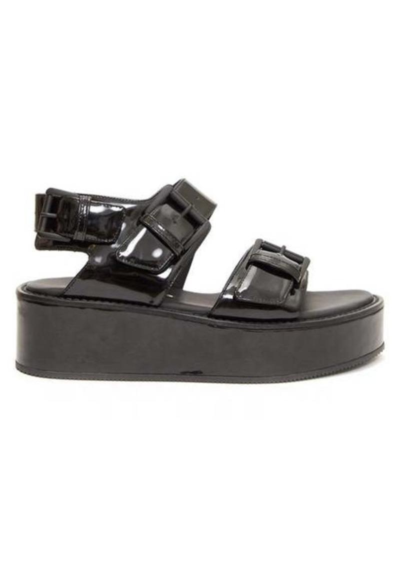 Ann Demeulemeester Buckled patent-leather flatform sandals