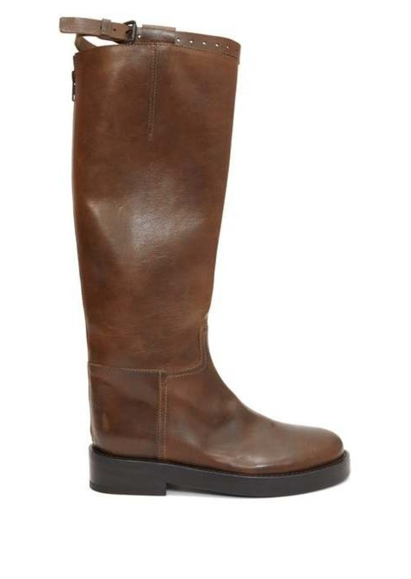 Ann Demeulemeester Buckled-strap leather knee-high boots