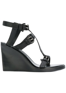 Ann Demeulemeester buckled wedge sandals - Black