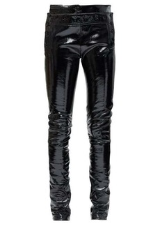Ann Demeulemeester Buttoned patent-leather skinny jeans