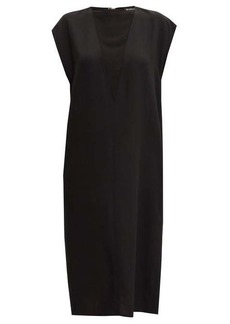 Ann Demeulemeester Crepe-insert wool-twill midi dress