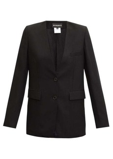 Ann Demeulemeester Collarless single-breasted wool-twill blazer
