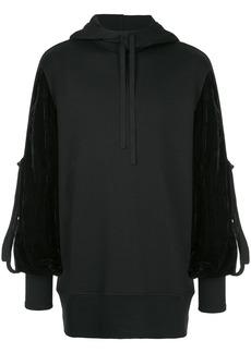 Ann Demeulemeester contrast sleeve hoodie - Black