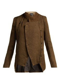 Ann Demeulemeester Cropped linen and wool-blend jacket