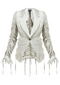 Ann Demeulemeester Drawstring-seam tailored satin jacket