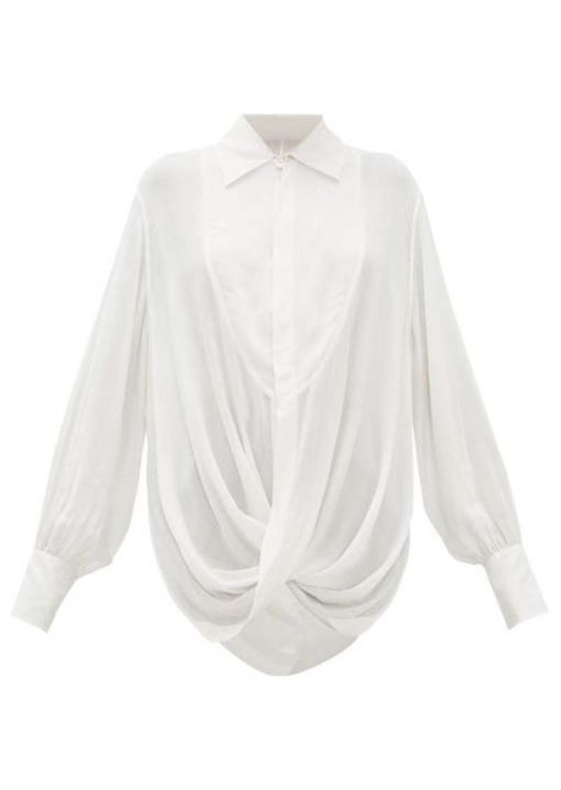 Ann Demeulemeester Ewing draped open-back poplin blouse