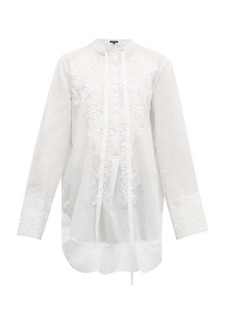Ann Demeulemeester Floral-embroidered cotton shirt