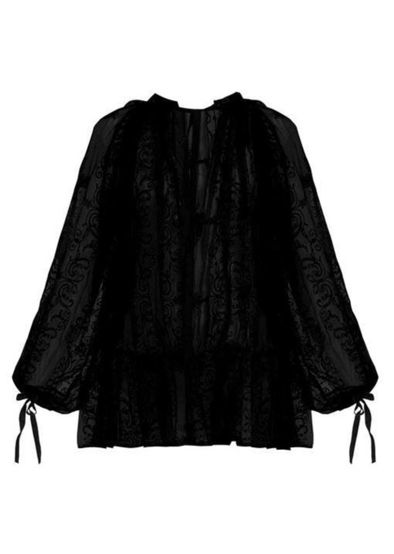 Ann Demeulemeester Floral-embroidered cotton-voile blouse