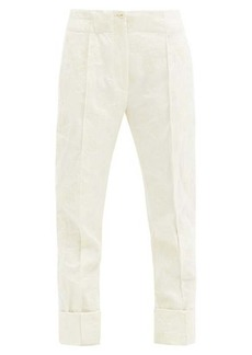 Ann Demeulemeester Floral-jacquard wool-blend trousers