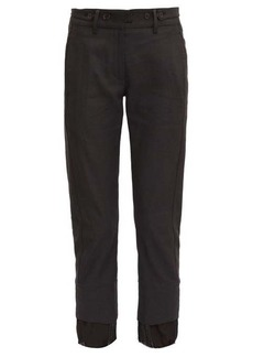 Ann Demeulemeester Voile-trimmed cuff cotton-blend slim-leg trousers