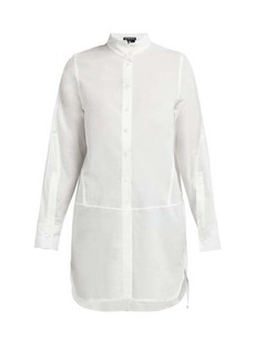 Ann Demeulemeester Grosgrain-trimmed button-back cotton shirt