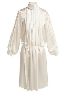 Ann Demeulemeester High-neck pleated-front silk dress