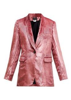 Ann Demeulemeester Illume striped velvet-lamé single-breasted blazer
