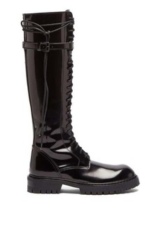 Ann Demeulemeester Knee-high lace-up patent leather boots