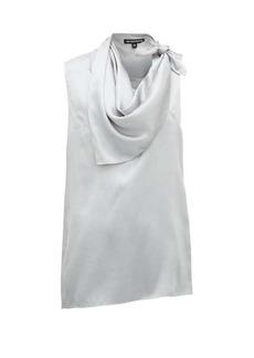 Ann Demeulemeester Knotted handkerchief-neck silk-satin top