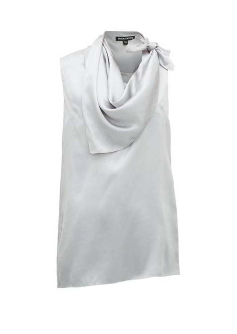 Ann Demeulemeester Knotted handkerchief-neck silk-satin top