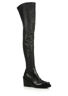 Ann Demeulemeester Leather Over-The-Knee Chunky Heel Boots