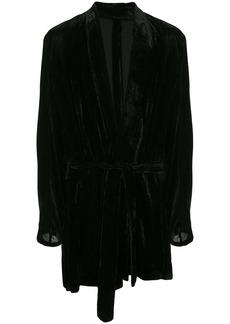 Ann Demeulemeester long corduroy robe jacket - Black