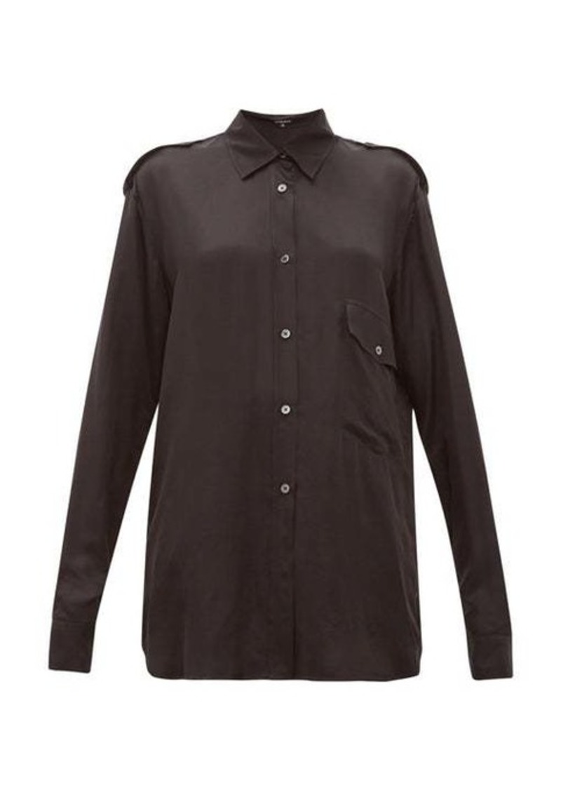 Ann Demeulemeester Nanette dropped-pocket satin shirt