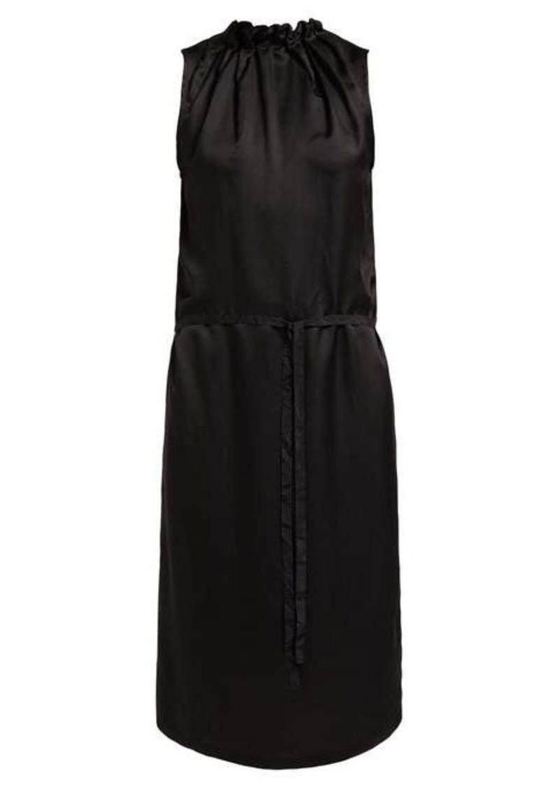 Ann Demeulemeester Nanette ruched high neck satin dress