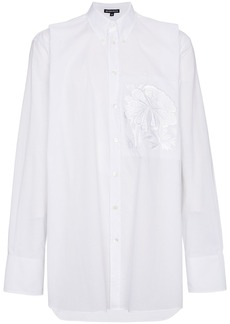 Ann Demeulemeester Oversized floral patch shirt - White