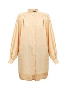 Ann Demeulemeester Oversized frilled neck cotton-blend shirt