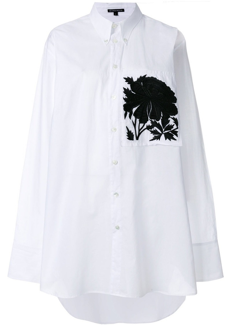 Ann Demeulemeester peony embroidered oversized shirt - White