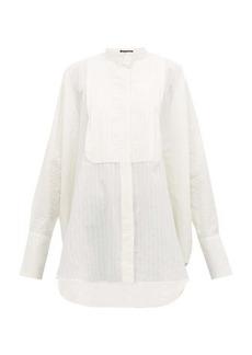 Ann Demeulemeester Pleated-yoke striped cotton shirt