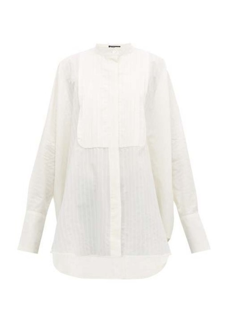 Ann Demeulemeester Pleated-yoke striped cotton shirt