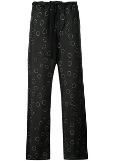 Ann Demeulemeester printed wide leg trousers - Black