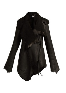 Ann Demeulemeester Raw-edge open leather jacket