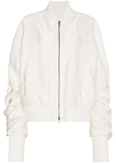 Ann Demeulemeester ruched cashmere cotton-blend bomber jacket - White